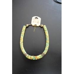 Halsketting geel/groen kralen